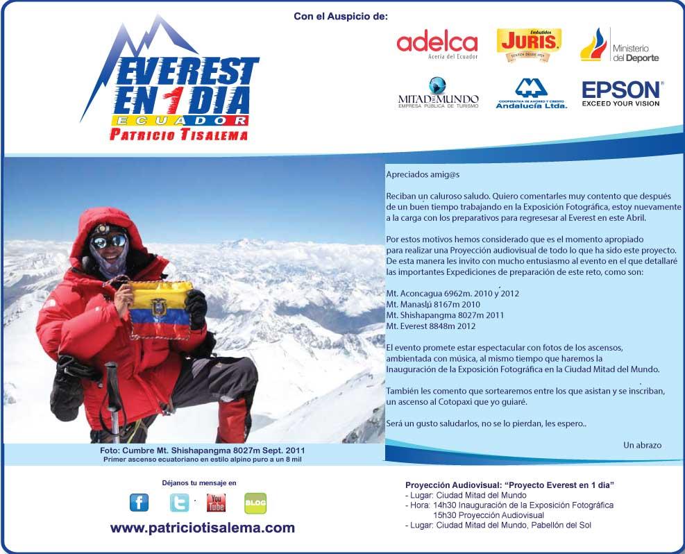 Patricio Tisalema Everest en 1 dia