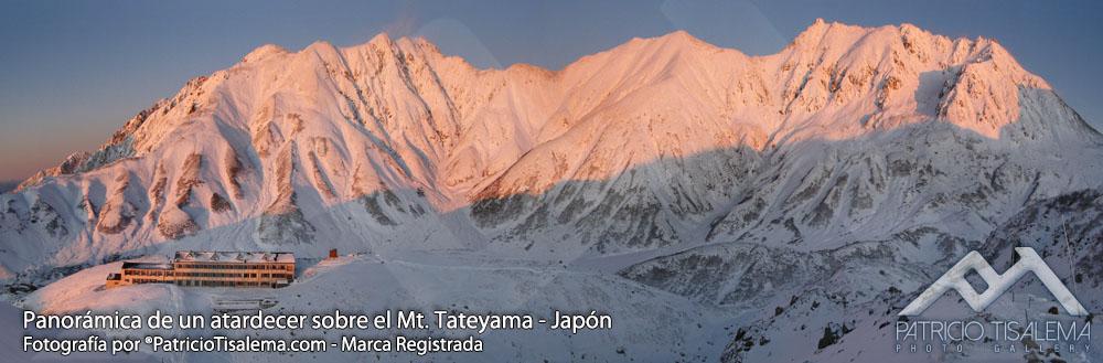 Atardecer sobre el monte Tateyama en los Kita Alps