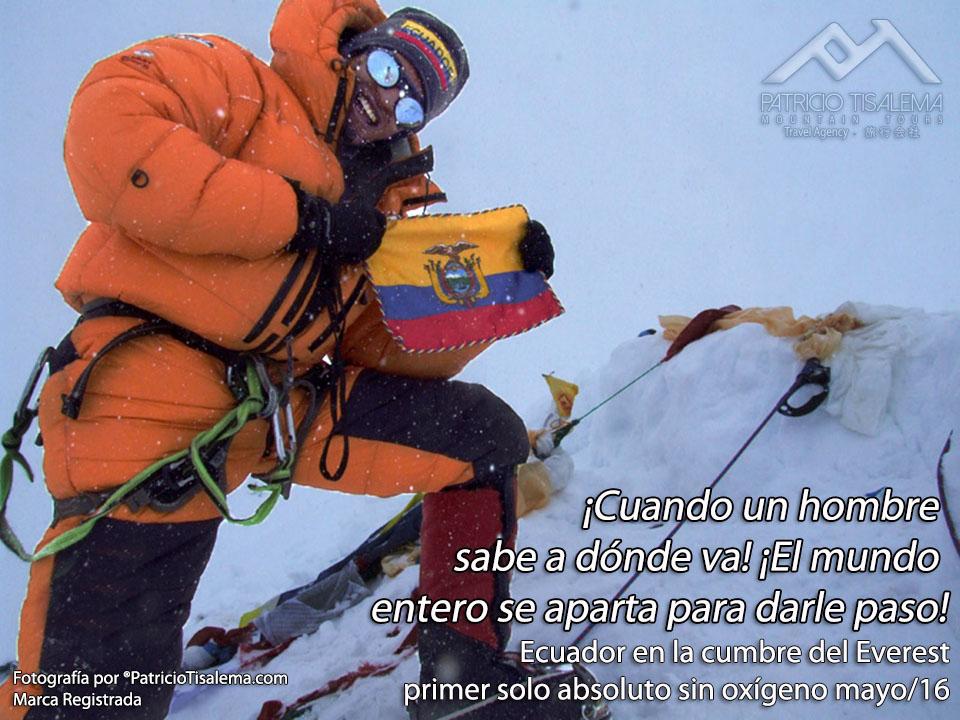 Ecuador en la cumbre del Everest - primer ascenso solo absoluto sin oxígeno
